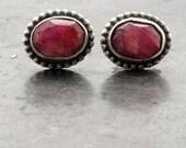 Ruby Stud Earrings, Small Ruby Post Earrings, Sterling Silver Red Ruby Earrings, Ruby July Birthstone, Ruby Jewelry, Bridal Ruby Earrings