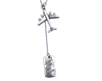 Find Joy in the Journey - Travel Gift Necklace Inscription Tag Silver Airplane Charm