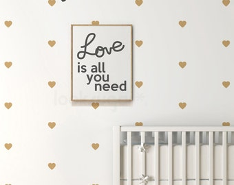 Gold Heart Decal also comes in different sizes & colors . Heart Wall Decal with Wallpaper Effect . Baby Nursery Decal - AP0032