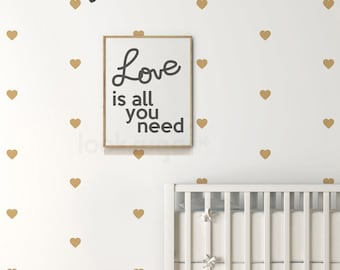 "Heart Wall Decal . 2.5"" Heart Wall Sticker with Wallpaper / Wall Stencil Effect . Heart Decal . Baby Nursery Wall Decal - AP0032"