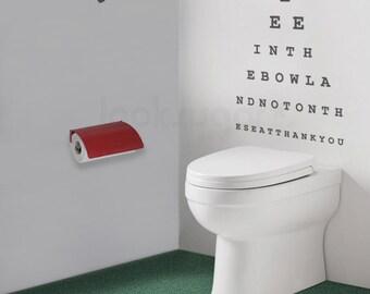 Eyechart Wall Decal - Bathroom Wall Decal - Topography Wall Decal - 0076