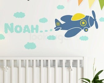 Airplane Wall Decal . Name Wall Decal . Personalized Wall Decal . Plane Decal . Cloud Wall Decals . Baby Nursery Wall Stickers - LSWD-0090