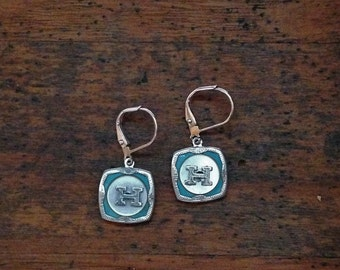 """1920's Art Deco Cufflink Earrings with initial """"H"""""""
