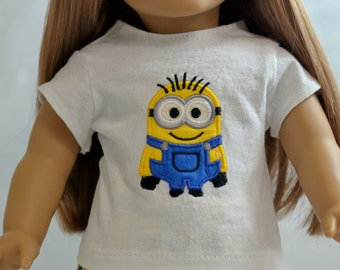 "Minion Inspired Embroidered Shirt and Skirt:  Fits 18"" Dolls Such As American Girl, Our Generation (Target), My Life As (Walmart) and Others"