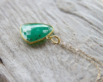 Large Chrysoprase Necklace, Chrysoprase with Gold
