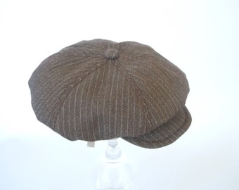 Newsboy Cap for Dog or Cat - Sizes S, M, and L - Brown Pinstripe