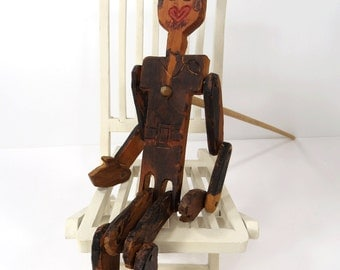 Folk Art Americana Wood Dancing Jointed Jig Doll, Vintage Dancing Dan, Dancing Man On Stick