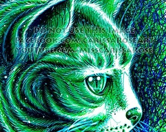 Kitty 2 Pop Art Print - 5x7, 8x10, or apprx 11x14 inches PopArt Electric Neon Feline Cat Kitten Meow Kitteh Sharpie Art Print