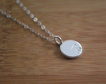 CAPRICORN dainty coin necklace. small silver zodiac necklace Capricorn symbol jewelry Meaningful thoughtful gift or great layering necklace