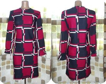 Vintage 60s Dress   Vintage 1960s Dress   Red White & Blue   MOD Dress   Op-Art   Plaid Shift Dress   Patriotic   Sz L XL