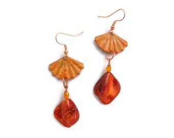 orange sea shell dangle earrings, paui abalone shells, nautical, ocean jewelry, beach wedding, hand painted shells, patina painted