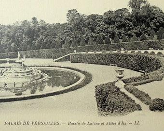Vintage French Postcard - Gardens of Versailles, France