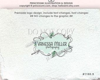 Custom Premade Logo Design - leaves border logo swirl logo doodle frame logo photography logo boutique logo by princessmi  1160-9