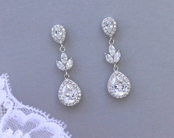 Crystal Bridal Earrings, Bridal Drop Earrings, Crystal Wedding Earrings, CLIP On Option, Crystal Bridal Jewelry,  HAYLEY CR