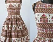 50's Rockabilly Dress Red and Gold Novelty Print Taj Mahal, Elephants and Unicorns Barkcloth Colette Juniors