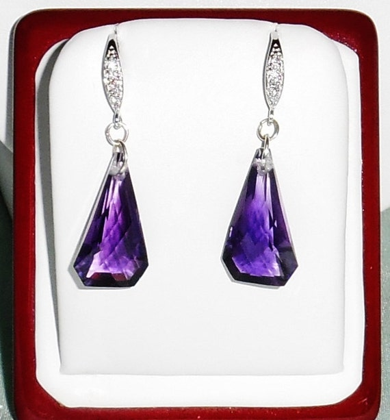 20 cts Fancy cut Purple Amethyst gemstones .925 Sterling Silver CZs Pierced Earrings