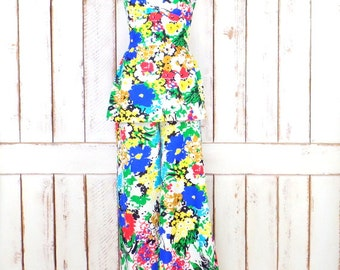 60s vintage bright op art floral two piece pantsuit/60s high waist wide bell bottom pants/halter top/jumpsuit/xsmall/small
