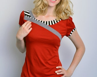 jersey top - terracotta - stripes - bow