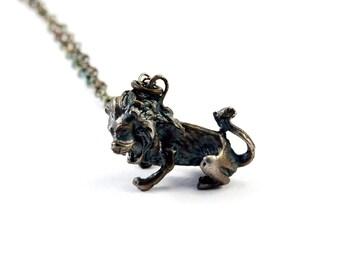 Lion Necklace, Sterling Silver, Lion Pendant
