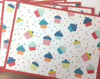 Cupcake Cards, Cupcake Notecards, Cupcake Stationery, Cupcake Card Set, Cupcake Birthday Card, 6 Cards & Envelopes