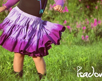 Girl's dip dyed purple twirly skirt