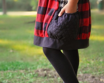 Girl's red black buffalo plaid bubble skirt with pockets