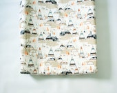Contoured Changing Pad Cover - Foxes and Teepees in Oak