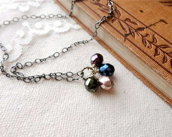 Simple and delicate plum, blue, green, and pearl glass bead necklace, quad-bead necklace, Friday Morning