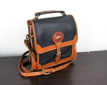 Vintage Dooney & Bourke Medium Surrey Carrier Bag, Navy and British Tan Pebbled All Weather Leather, All Weather Leather Purse, 1990s 050042