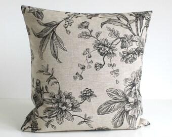 Linen Pillow Cover, 16 Inch Pillow Cover, Bird Pillow Cover, 16x16 Pillow Sham, Cushion Cover, Throw Pillow Cover - Botanica Black