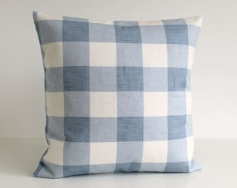 Cottage Chic, 16 Inch Pillow Cover, Gingham Cushion Cover, Shabby Chic Pillow Sham, 16x16 Throw Pillow Cover, Pillowcase - Gingham Blue