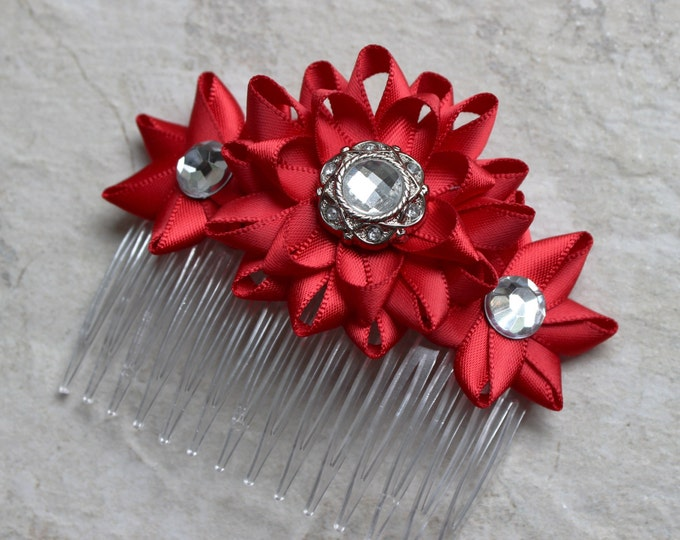 Red Hair Accessory, Red Hair Comb, Red Hair Flower, Red Flower Comb, Red Wedding Hair Accessories, Hair Accents, Bridesmaid Hair Combs
