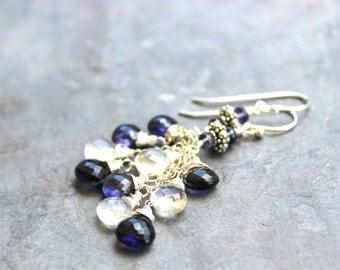 Moonstone Iolite Earrings, Sterling Silver Dangling Cluster Cascade earrings, Blue White