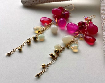 Ethiopian Opal Dangle Earrings, Hot Pink Gemstone Dangle, Long Gemstone Cluster Earrings, Bohemian Dangle Earrings, Opal Cluster