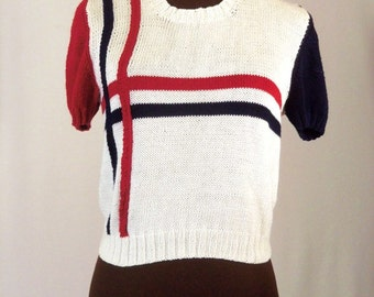 Vintage 60's 70's Women's Sweater Red White Blue Knit Size M