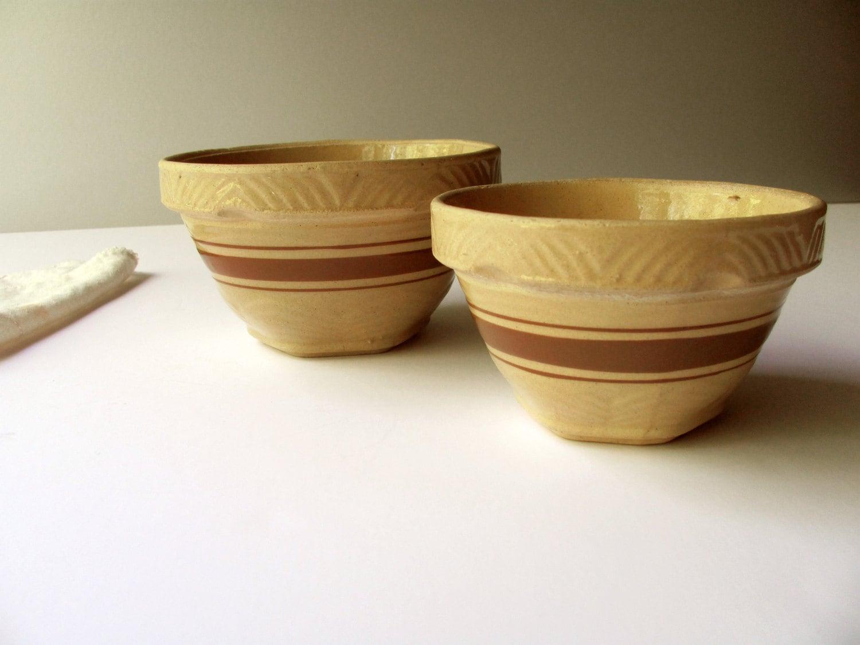 Vintage Yellowware Bowls Mixing Bowl Set Primitive Pottery