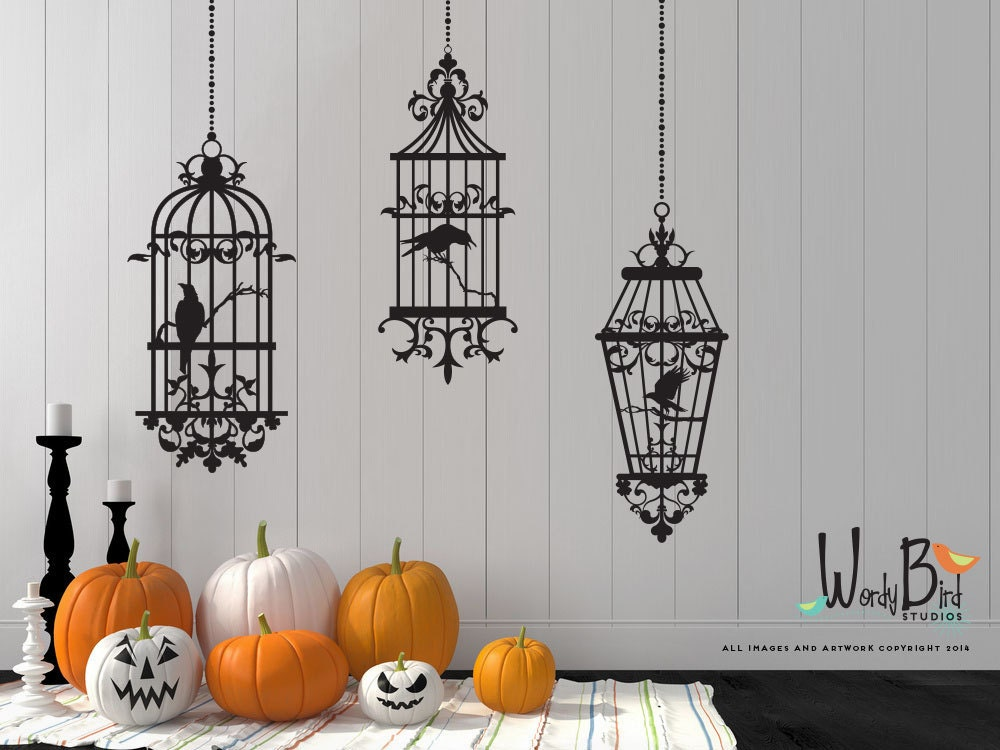 Gothic Style Birdcages With Ravens Halloween Wall Decals