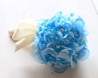 Blue Bouquet Crystal Daisies Handmade USA Pastel Silk Flowers Round Flower Girl Bouquet Budget In Stock Ready To Ship Worldwide 1000684 Sale