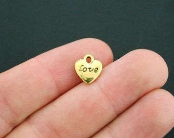 10 Love Heart Charms Antique Gold Tone 2 Sided - GC518