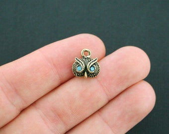 4 Owl Charms Antique Bronze Tone with Inlaid CZ Turquoise Eyes - BC453
