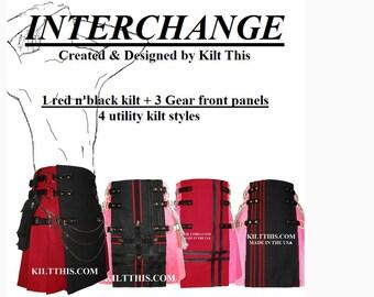 Interchangeable Red Black 10oz Canvas Utility Kilt plus 3 Front Panels Adjustable Custom Fit with Large Expanding Cargo Pockets