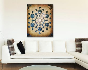 ON SALE 20% OFF The Wiltshire Circle - stretched canvas print, large wall art, crop circle art, sci fi, geekery, crop circles print