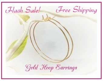 "SALE, Buy Gold Hoop Earrings, Hammered, 2"" Hoops, 2.25"" Hoops, 2.5"" inch, 2.75"", 3"", Plain Thin Gold Hoops, Christmas Gift, Free Shipping"