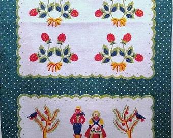 Vintage Startex Tea Towel - Pennsylvania Dutch Design - Colorful Green Red Yellow Blue - Kitchen Towel - Linen Cotton Farmhouse Hand Towel