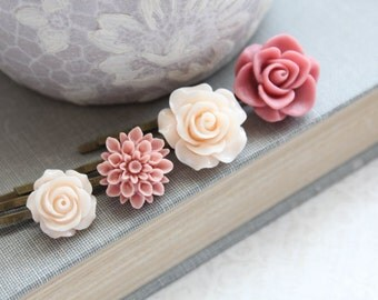 Rose Bobby Pins Flowers For Hair Floral Hair Accessories Light Peach Hair Pin Girls Hair Clips Dusty Rose Pink Vintage Style Set of Four (4)
