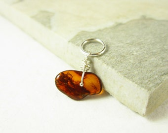 S - Raw Baltic Amber Jewelry - Natural Amber Pendant - Tree Resin Jewelry - Sterling Silver Charms - Wire Wrapped Jewelry Handmade
