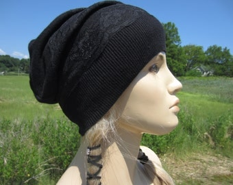 Black LACE Hat Slouchy Beanie light weight Evening Hat Edgy Rocker Bohemian Style Clothing A1202