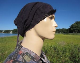 100% Cashmere Hats Hipster Clothing Purple Slouchy Beanie Hat Beret Winter Tam Leather Tie Back A1717