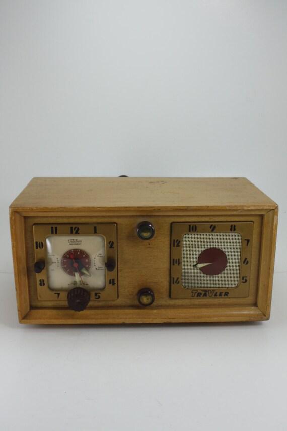 Vintage Radio Alarm Clock Electric Wood Telechron Travler Deco