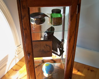 Antique Oak and Glass Display Case - Counter Top - General Store - Keen Kutter
